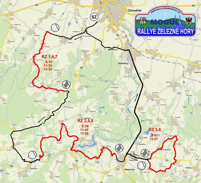 Mapa Rally Železné hory 2011